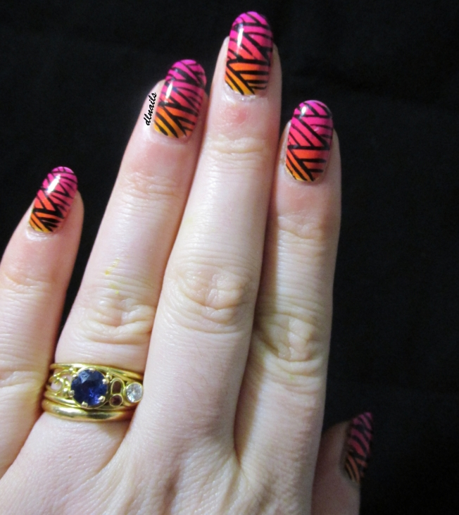 The Dalai Lama's Nails: Neon Gradient with Stripes